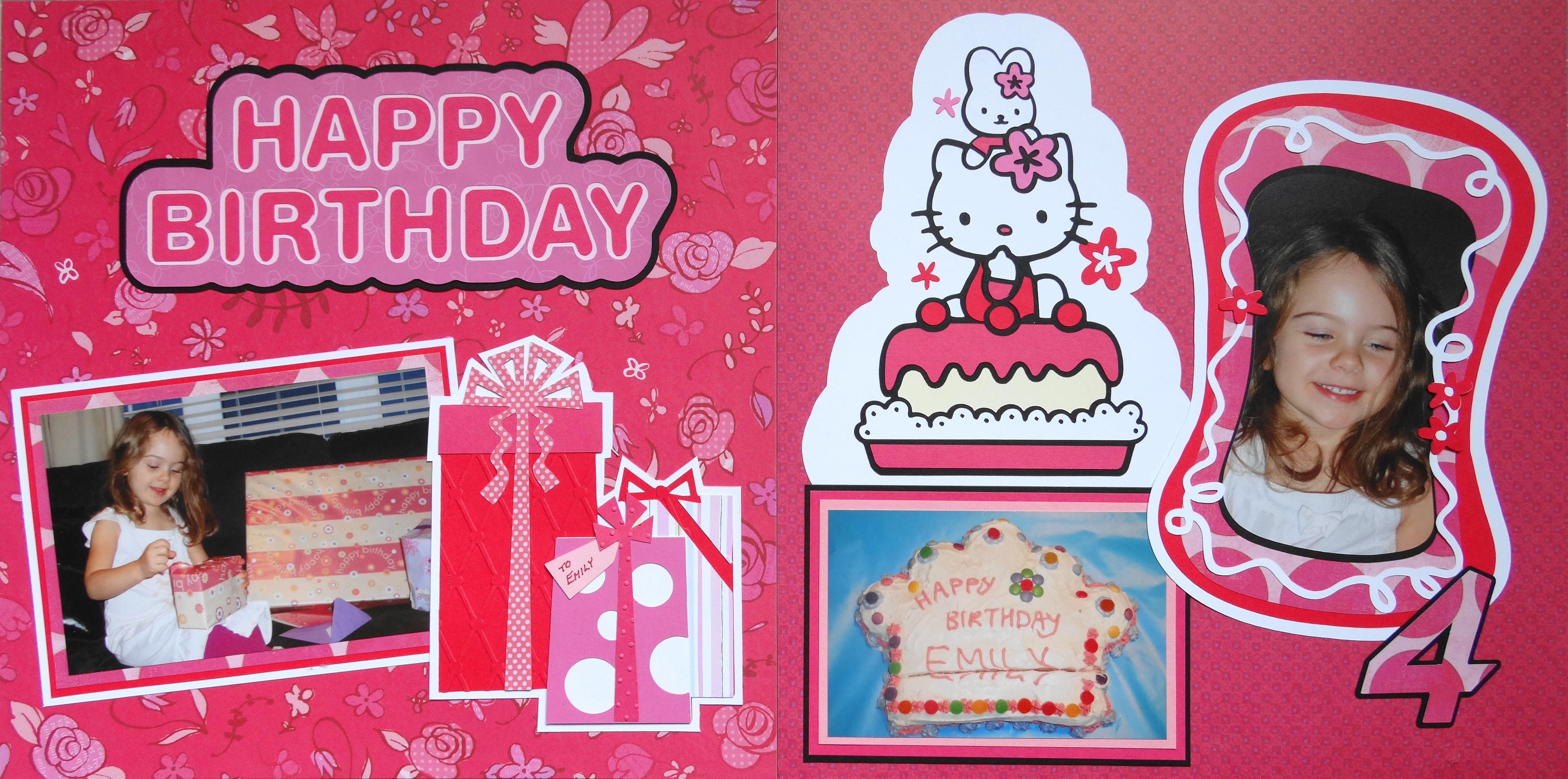 Scrapbook ideas hello kitty - Girl S Birthday Scrapbook Page Idea With Hello Kitty Theme Cake And Presents From Everyday Life Album