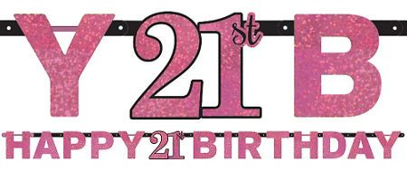 Pink Sparkling Celebration 21st Birthday Party Supplies