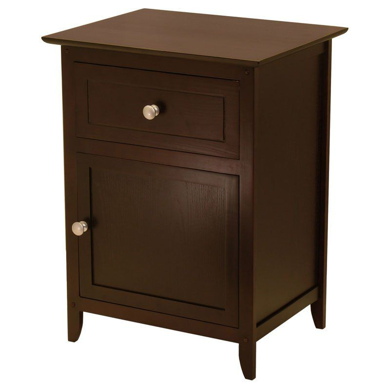 Winsome Trading Espresso End Table With 1 Drawer And Cabinet With