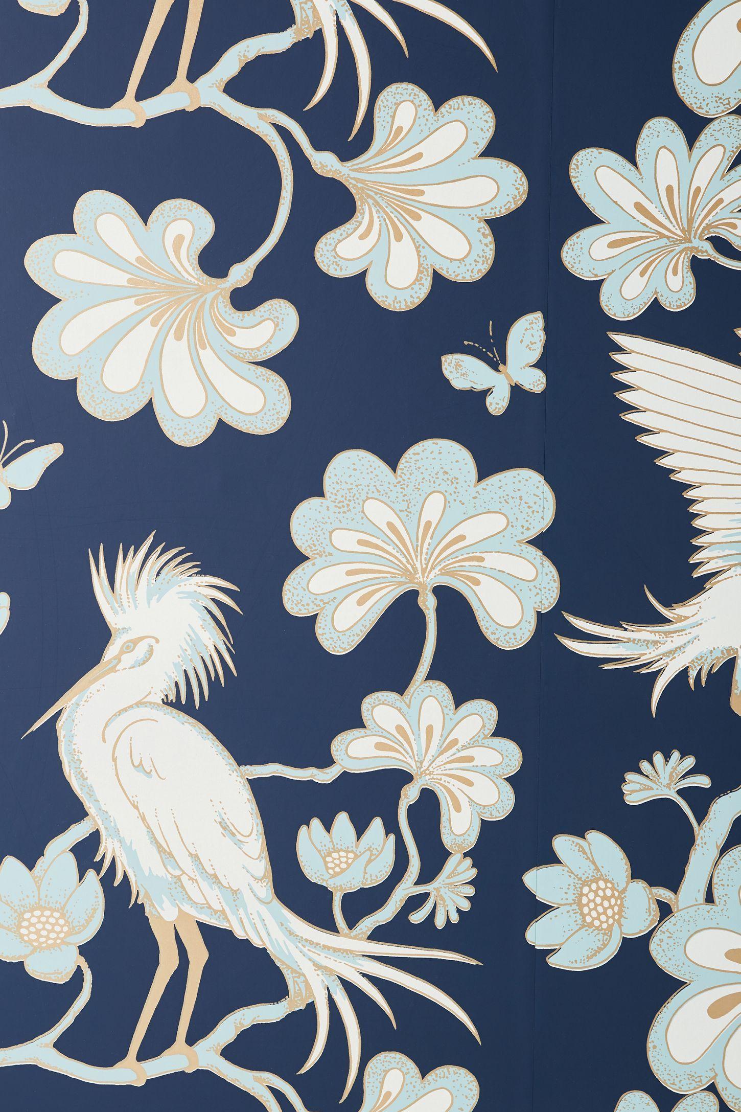 Egrets Wallpaper Wallpaper, Room wallpaper, Craft desk