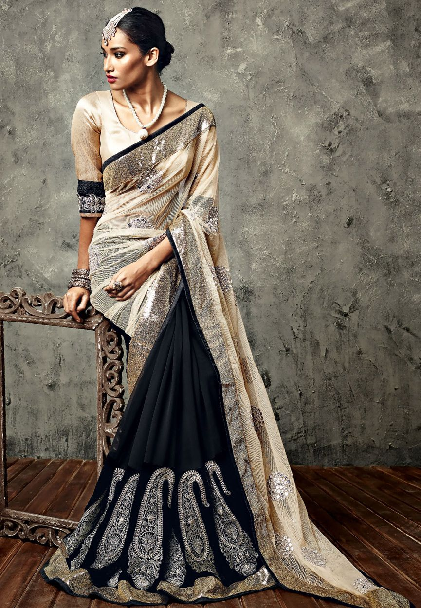 Velvet saree images buy beige and black net faux georgette and velvet saree with blouse