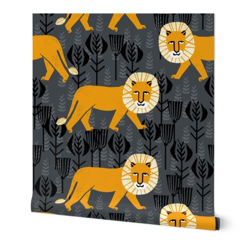 Safari Lion - Turmeric/Charcoal by Andre - Spoonflower