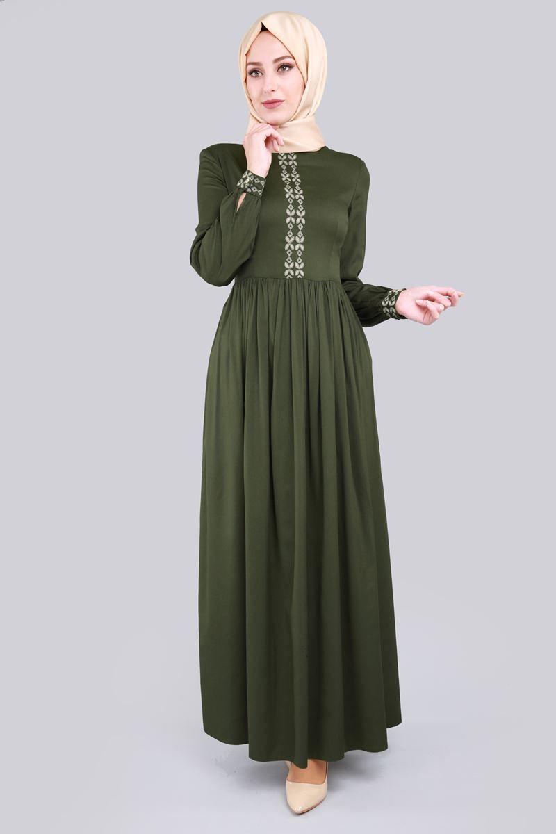 Pileli Tesettur Elbise Haki Urun Kodu Ozv3028 79 90 Tl Muslim Fashion Dresses Fashion