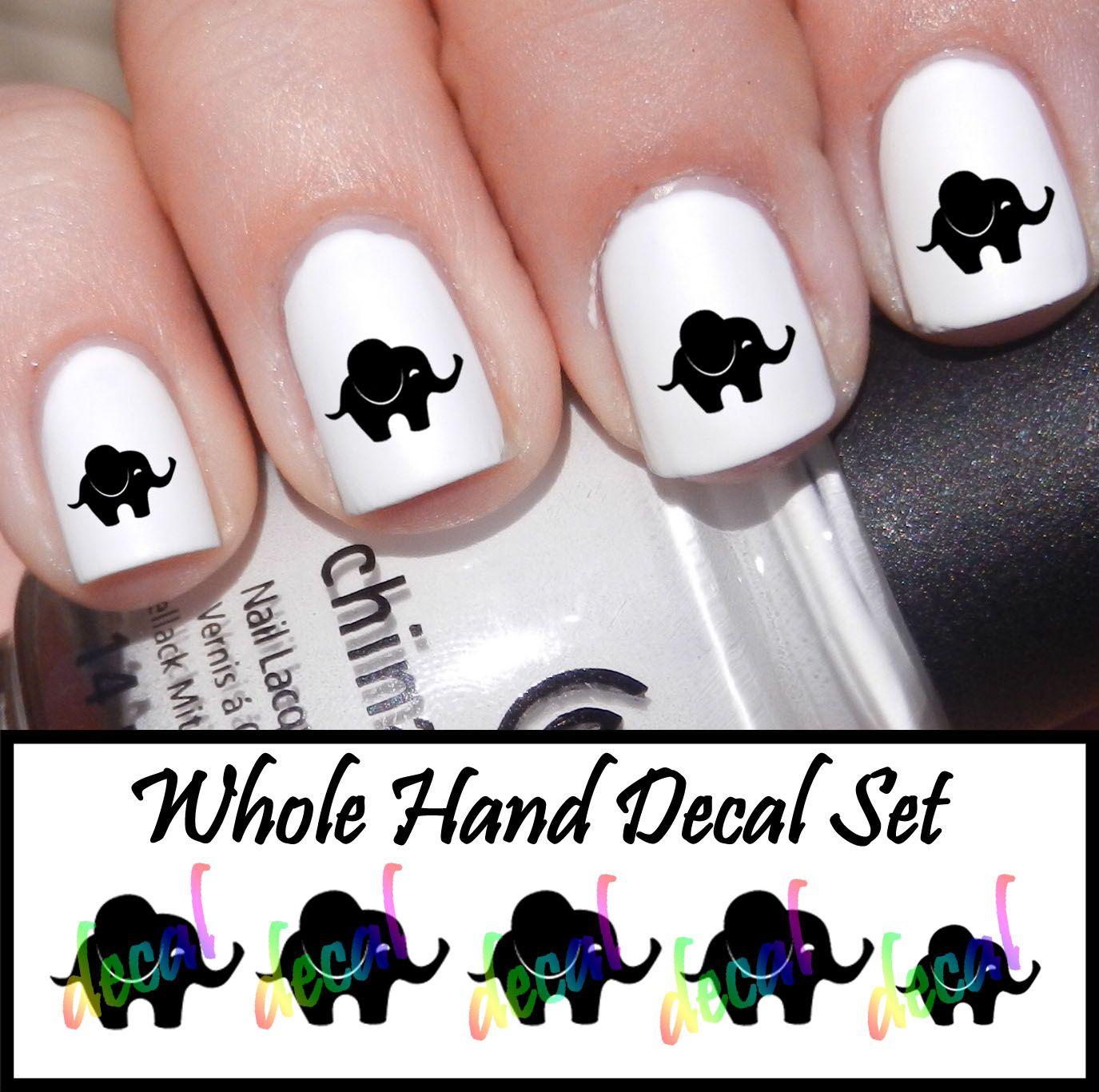 Tiny Elephant Nail Decals   Nails   Pinterest   Elephant nails, Nail ...