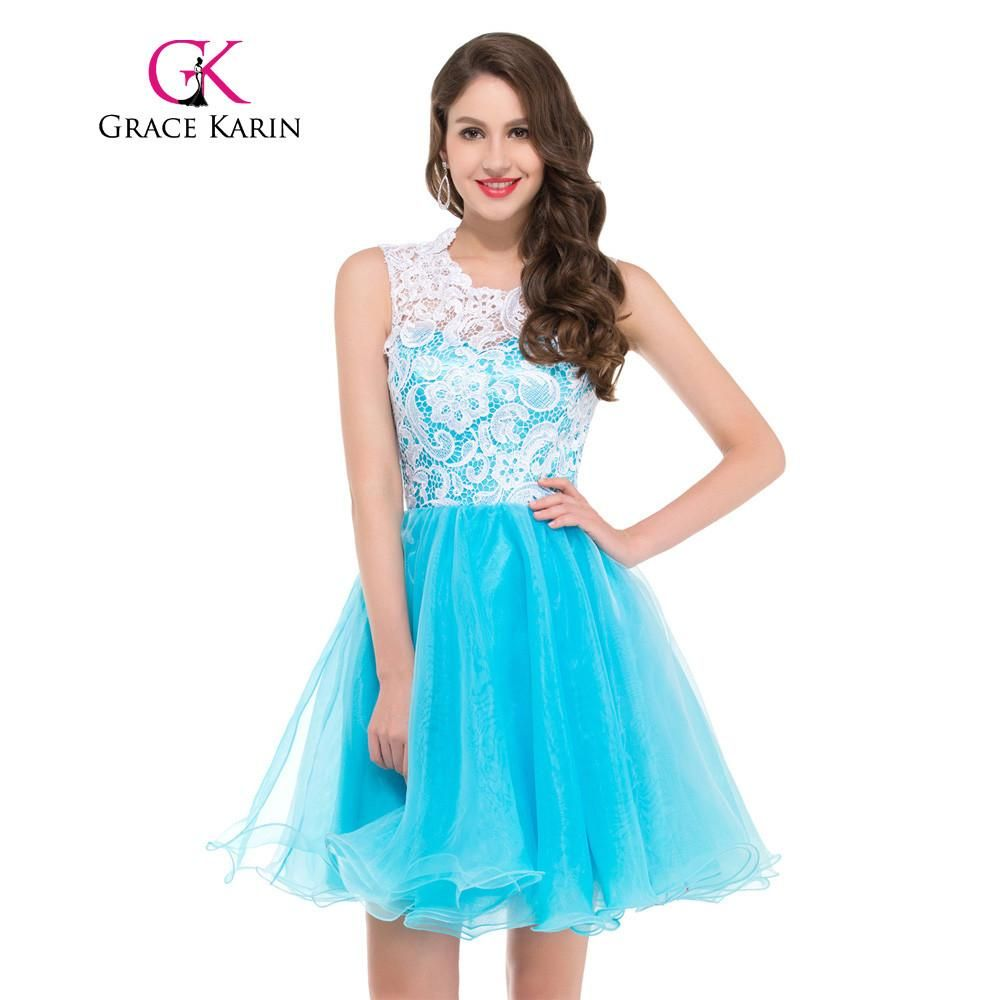 Grace Karin Short Prom Dress Sleeveless Ball Gown Lace Mini Party ...