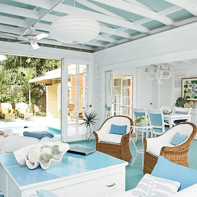 Delightful Key West Family Room Decorated In Blue And White   Key West Style Interiors  And Homes