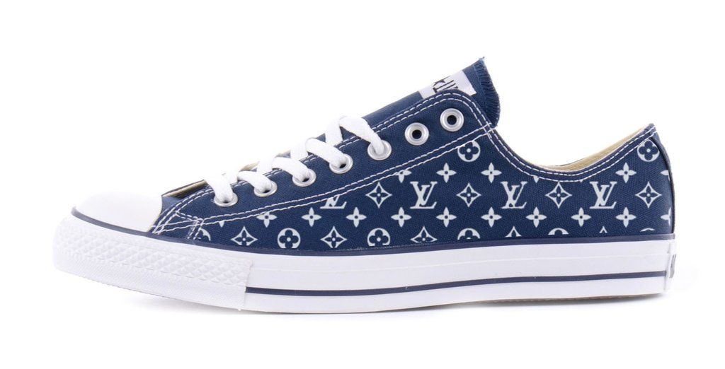 Supreme LV Print Custom Navy Converse Low Top Shoes | Navy