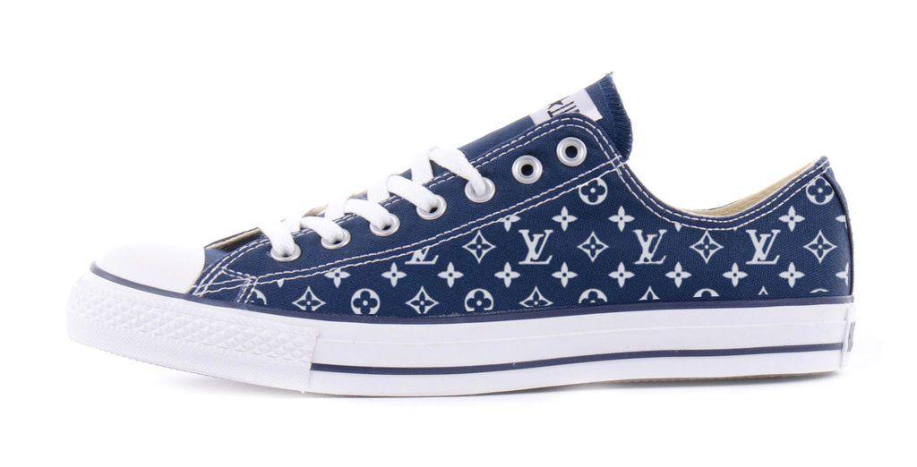 f64d2023e88347 Bandana Fever Supreme LV Print Custom Navy Converse Low Top Shoes – Bandana  Fever Designs