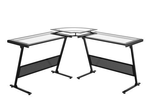 """Delano Glass """"L"""" Computer Desk"""