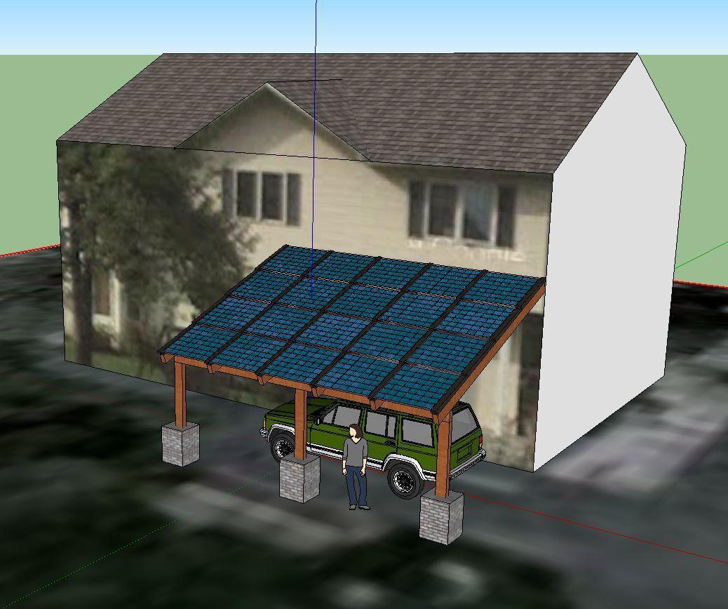 Blue Horizon Solar SketchUp carport design Carport