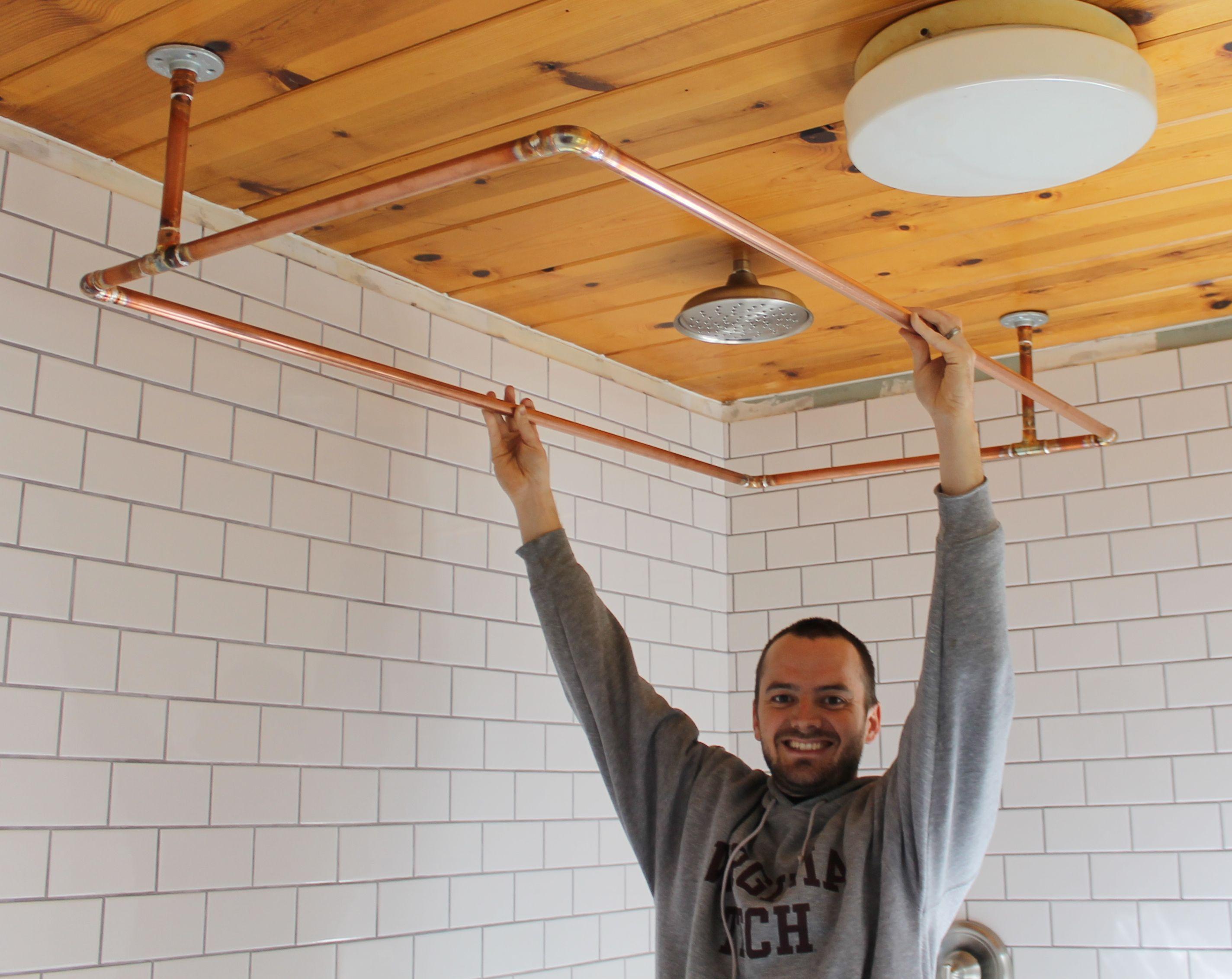 Great DIY Copper Shower Curtain Rod