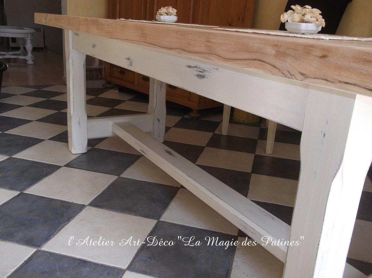 Table Cuisine Campagne Chic Blanc Et Bois 5 Meubles Relook S  # Bahut Vieilli Blanc But