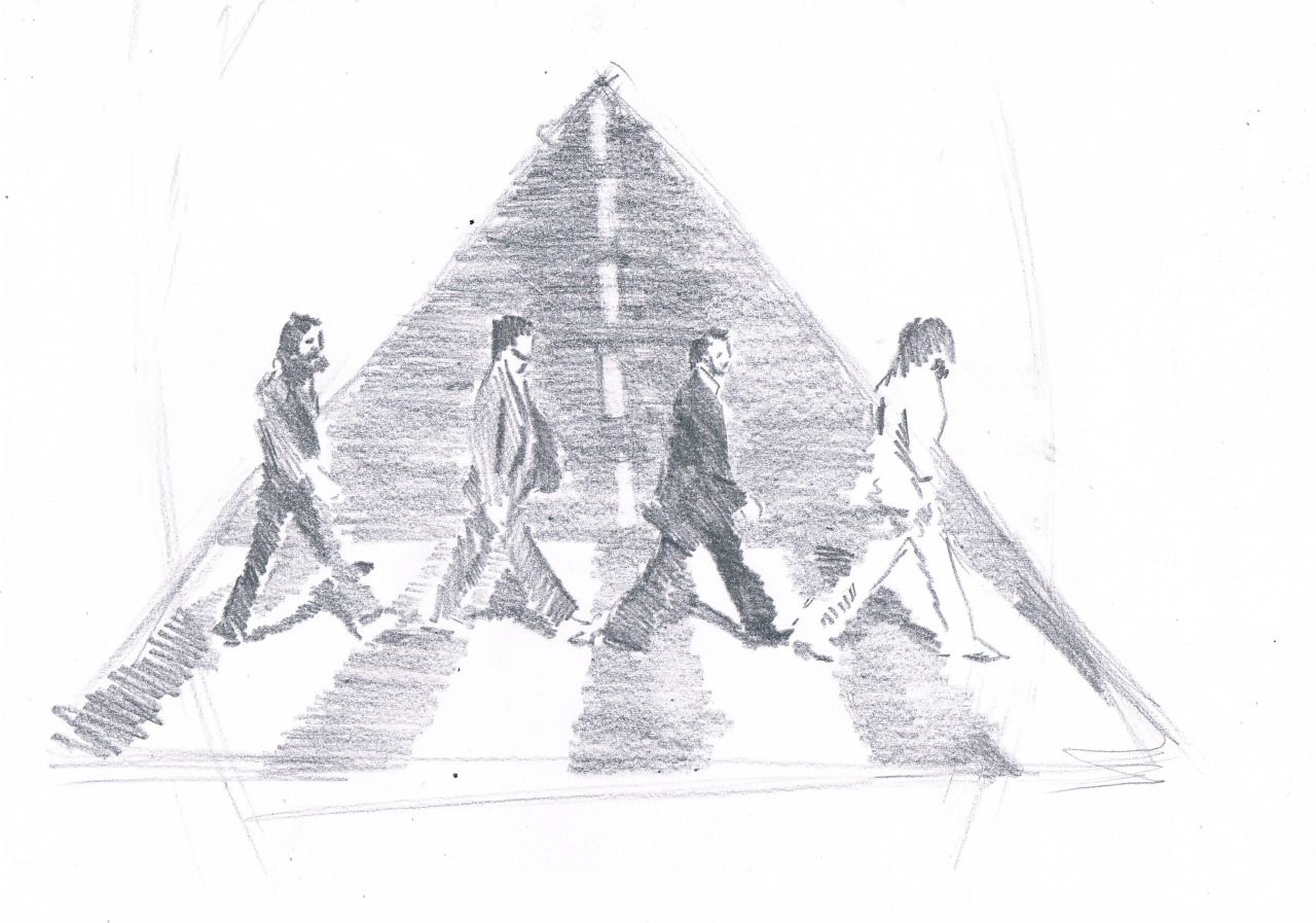 I'm trying to make some design for the tattoo of my cousin. He wants some Beatles' Abbey Road representation on his arm. This is the first sketch to show him some propositions.