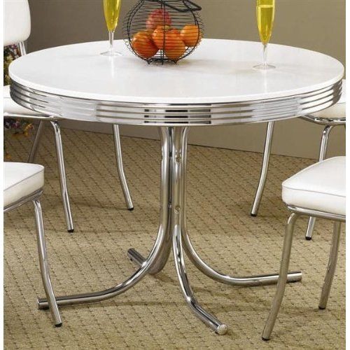 Amazon Com Retro Dining Table Chrome Metal 50s Kitchen Dinette