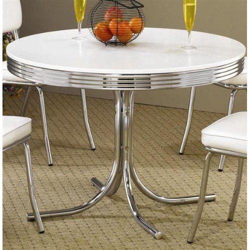 Retro Dining Table Chrome Metal 50s Kitchen Dinette Furniture Decor