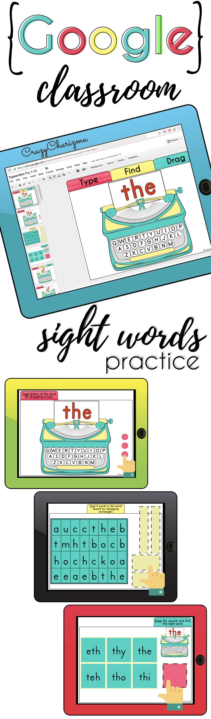 Sight Words Practice {Typewriters} for Google Classroom | Kid ...
