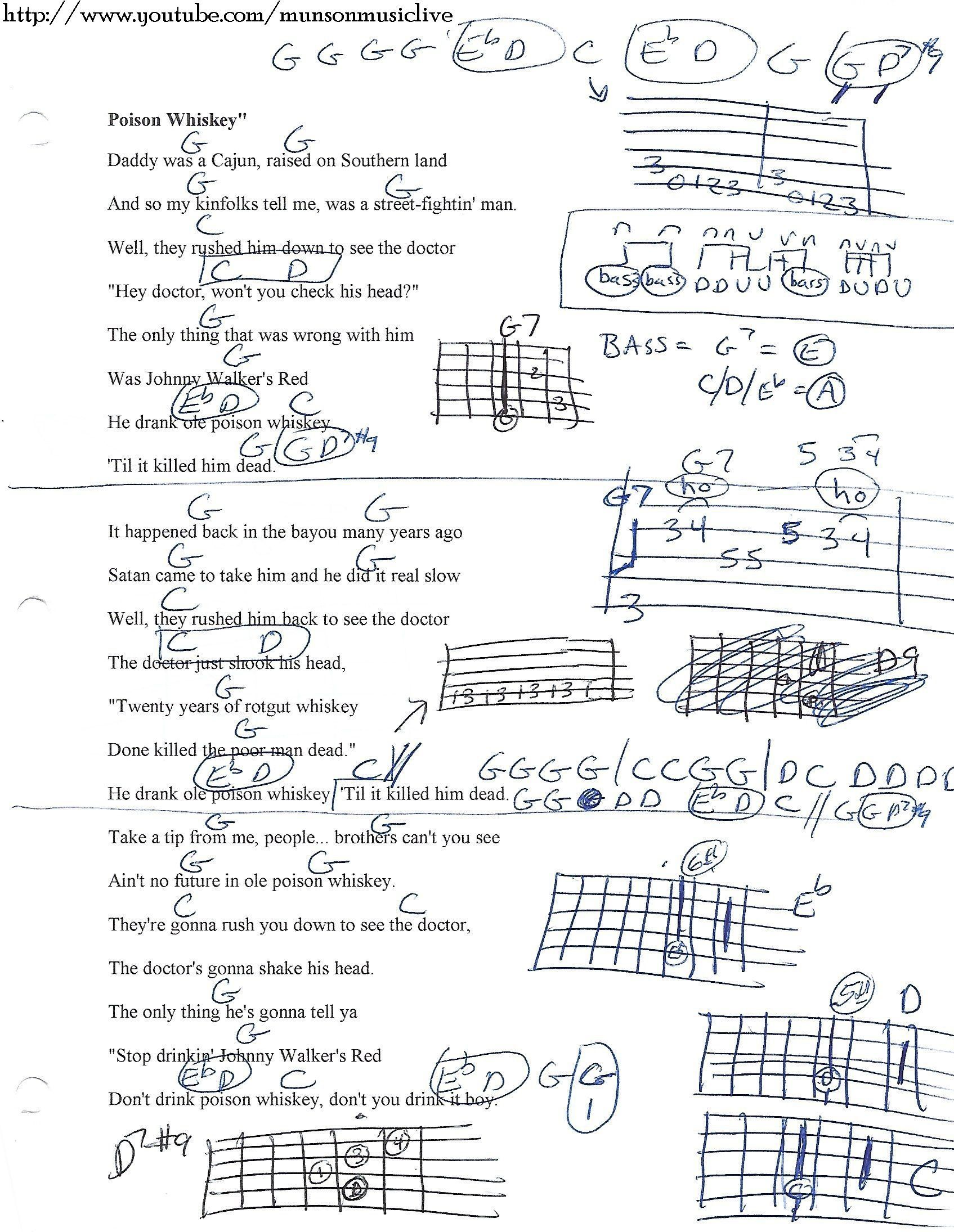 Poison Whiskey Lynyrd Skynyrd Guitar Chord Chart Guitar Lesson