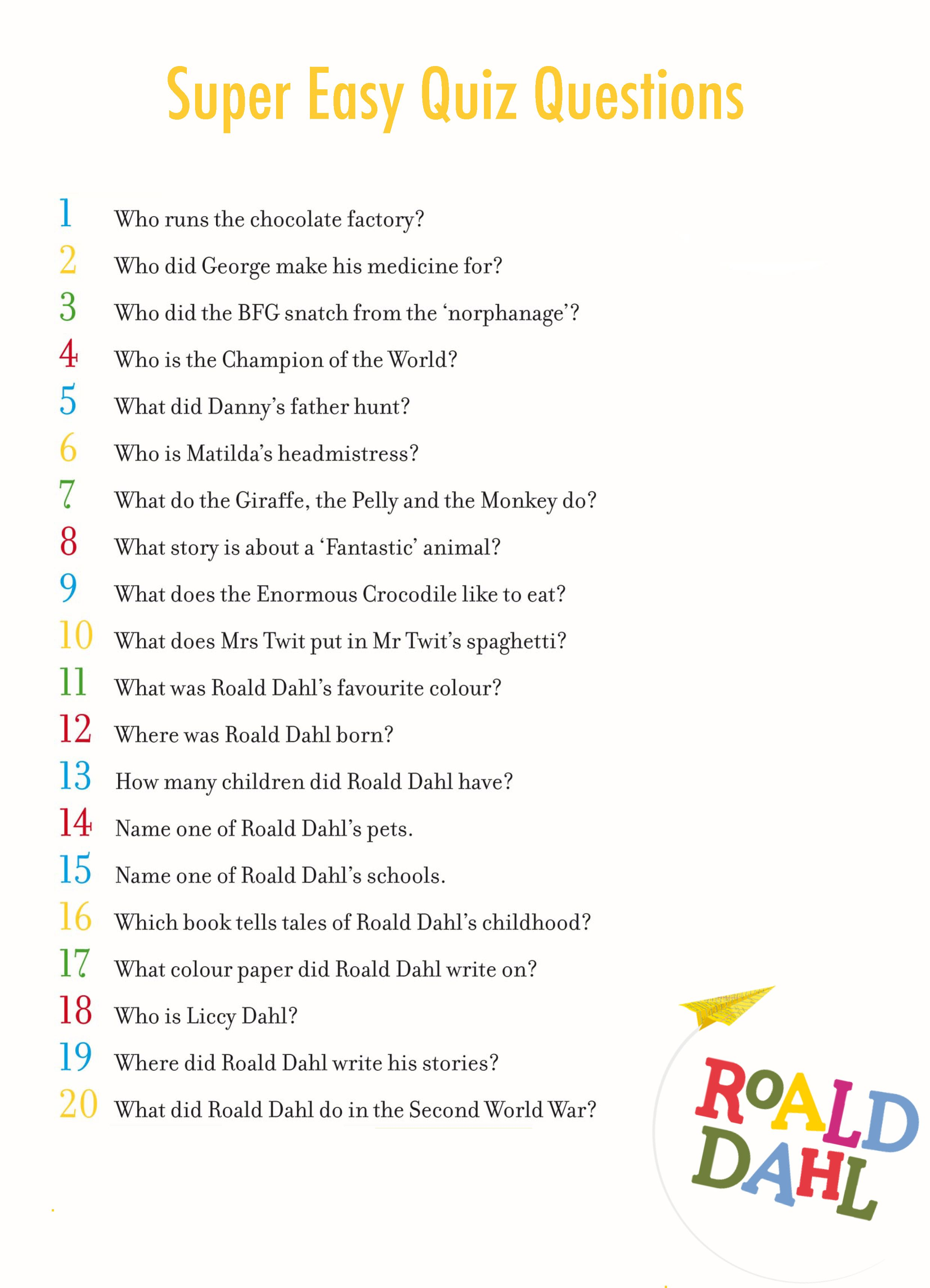 A To Z Quiz Questions For Children And Teenagers By