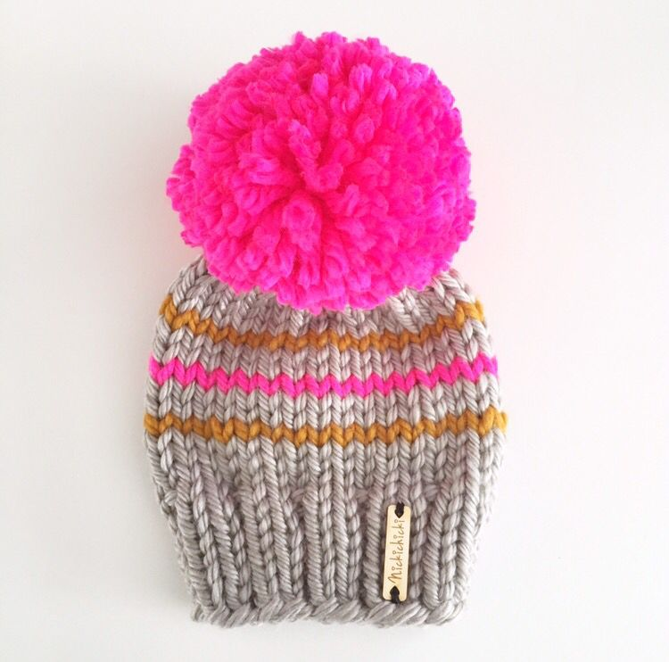Neon pink pompom beanie 1d61fddacd7f