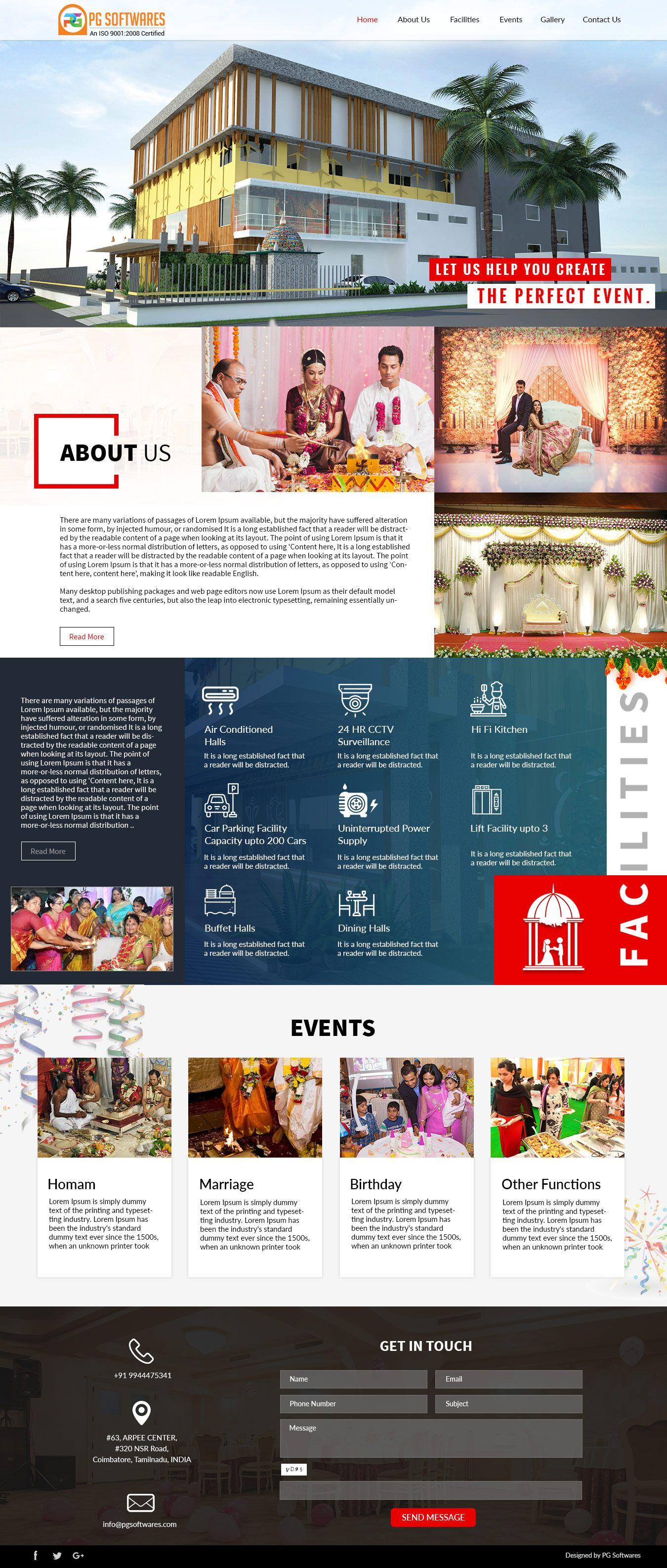 Marriage Hall Decoration Responsive Website Template Wedding Event WordPress