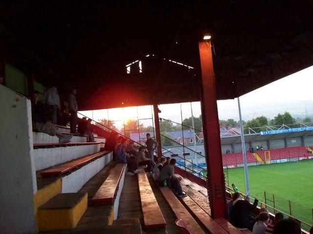 Solitude and Cliftonville FC in the sunset of Belfast, Northern Ireland