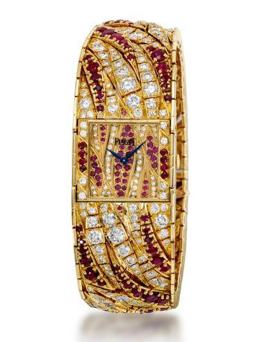 Piaget jewellery watch set with diamonds and rubies