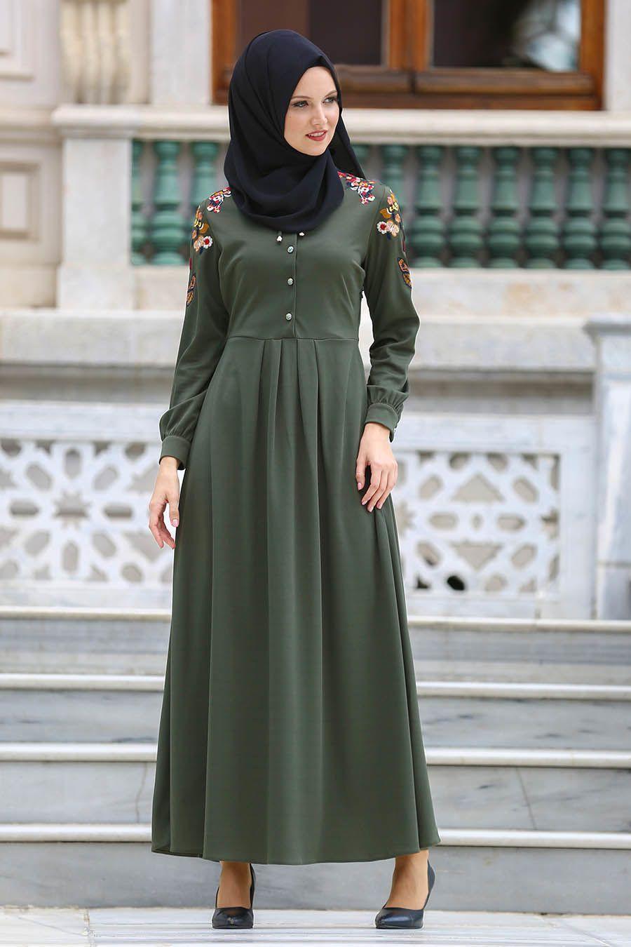 Nakisli Tesettur Penye Elbise Modelleri Moda Stilleri Elbise Modelleri Elbise