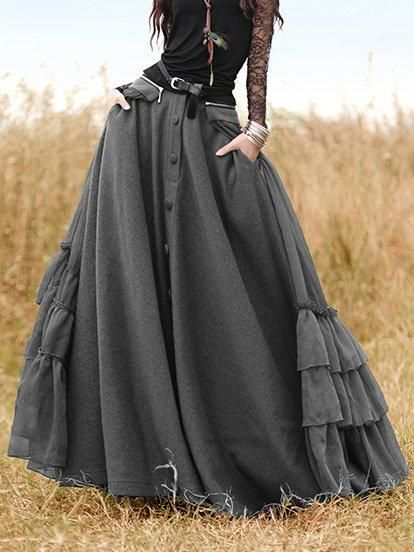 Long Skirts Casual Solid Cotton-Blend Skirts for Women | dress | Coffee Casual Cotton-Blend Dress