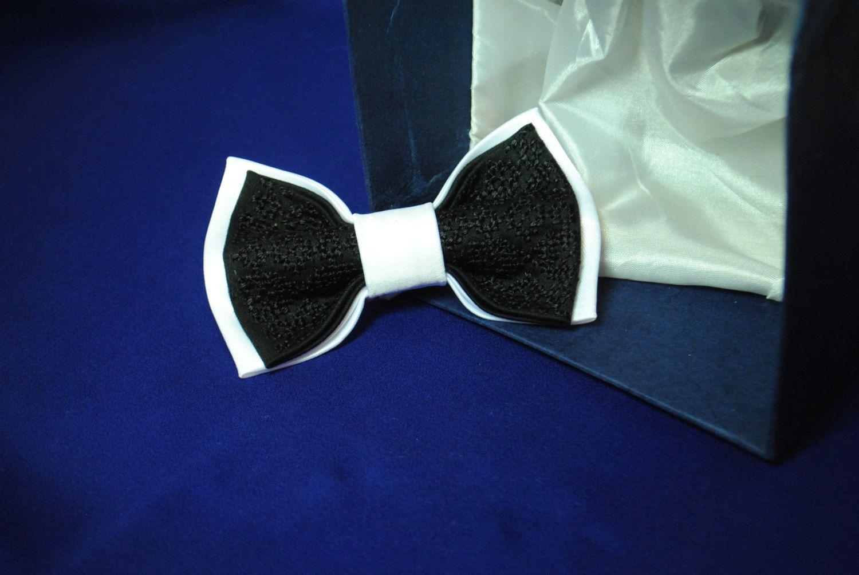 b6bc818db5e3 Bow tie Wedding bow tie White black embroidered bowtie Classic necktie  Formal ties Le nœud papillon blanc noir Satin Silk thread Groom's tie by ...