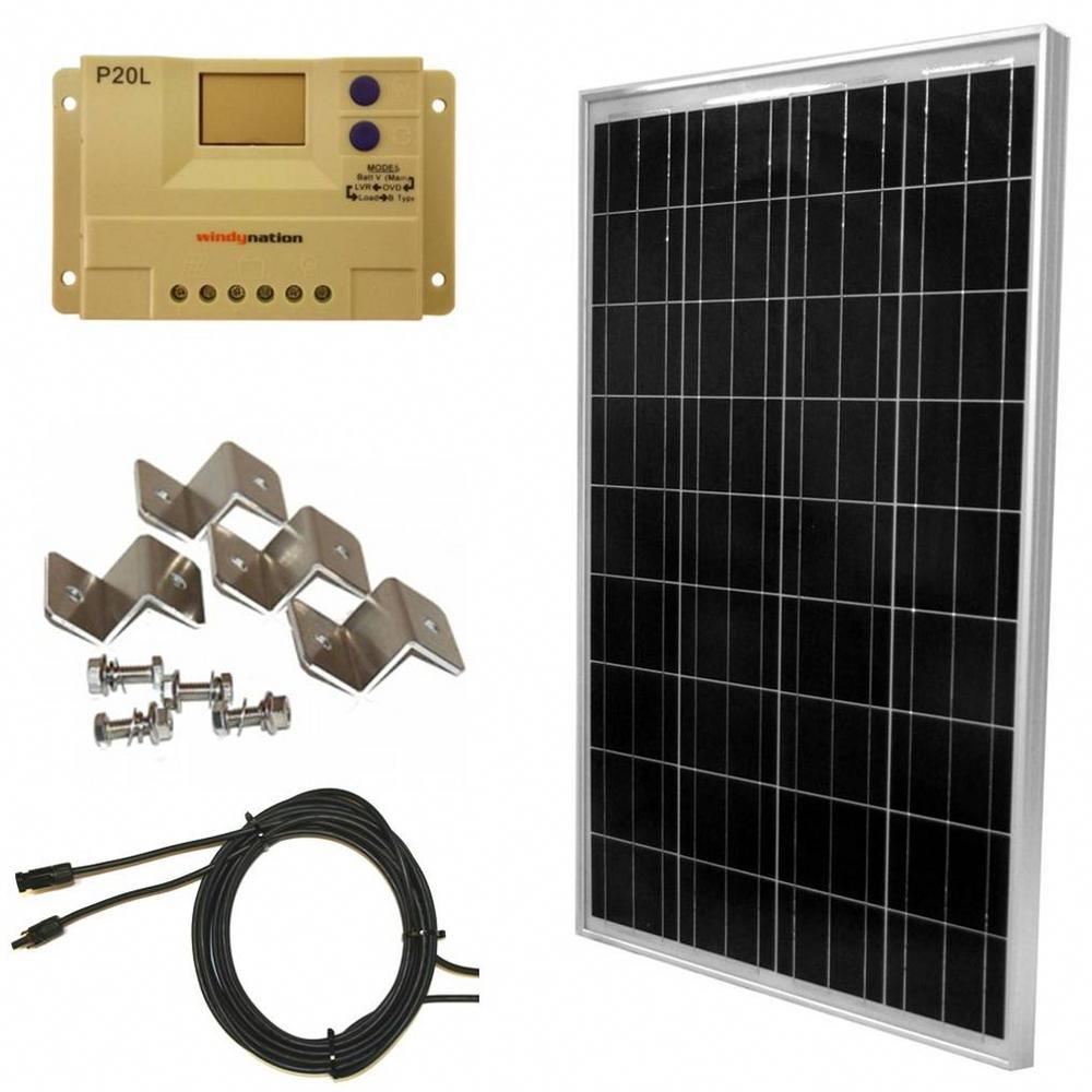 Windynation 100 Watt Off Grid Polycrystalline Solar Panel Kit Sok 100wp P20l The Home Depot In 2020 Solar Energy Panels Solar Panel Installation Solar Panel System