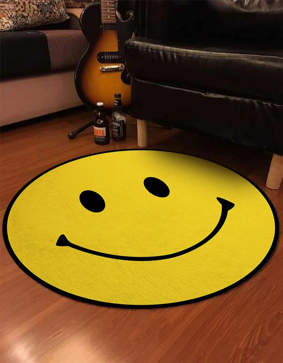 Emoji Rug Round Smiley Carpet Smiley Face Patterned Round Rug Non Slip Plushy Carpet Christmas Gift Decorative Yellow Rug Gift For Kids 2020