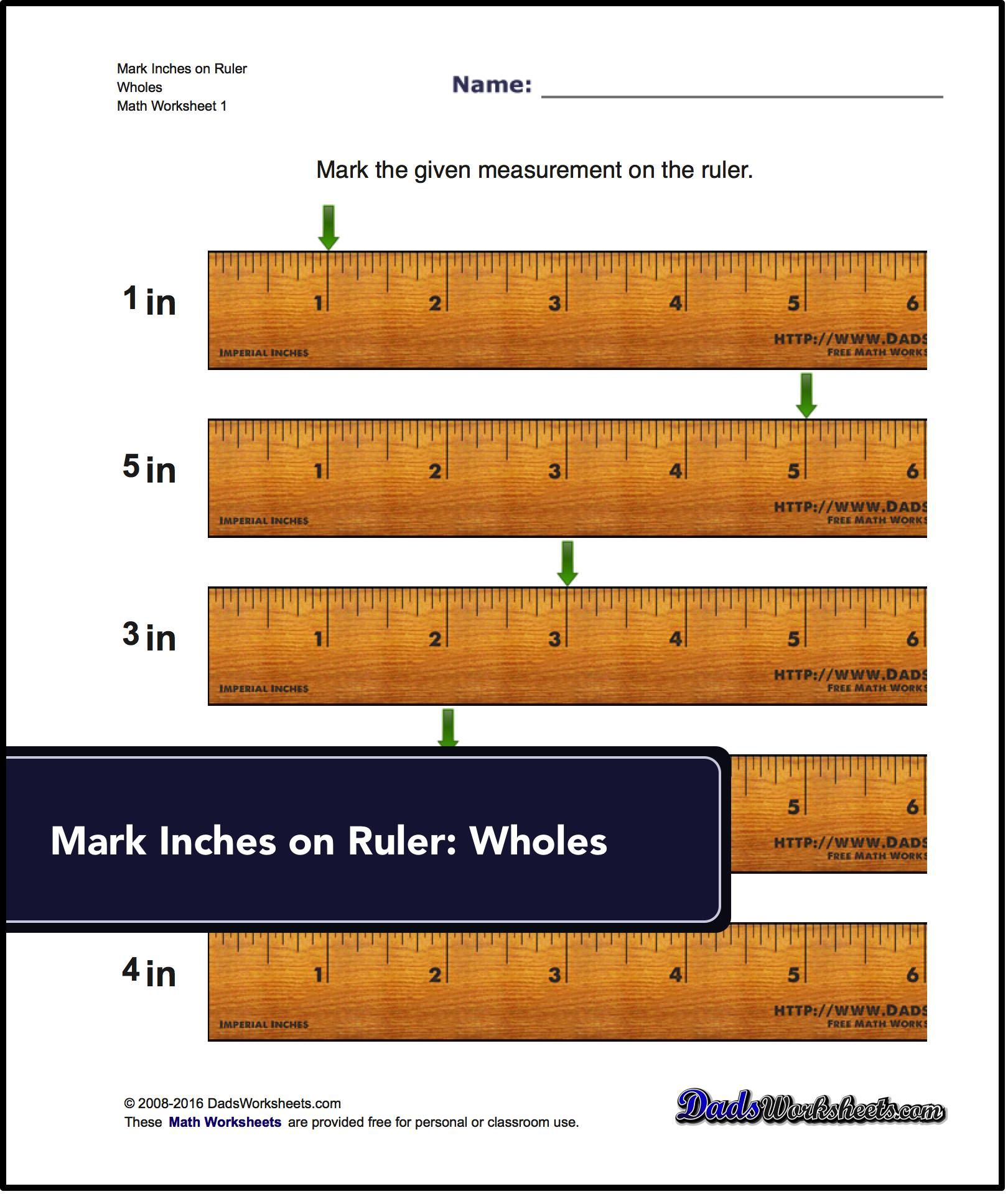 Free Math Worksheets For Inches Measurement Problems