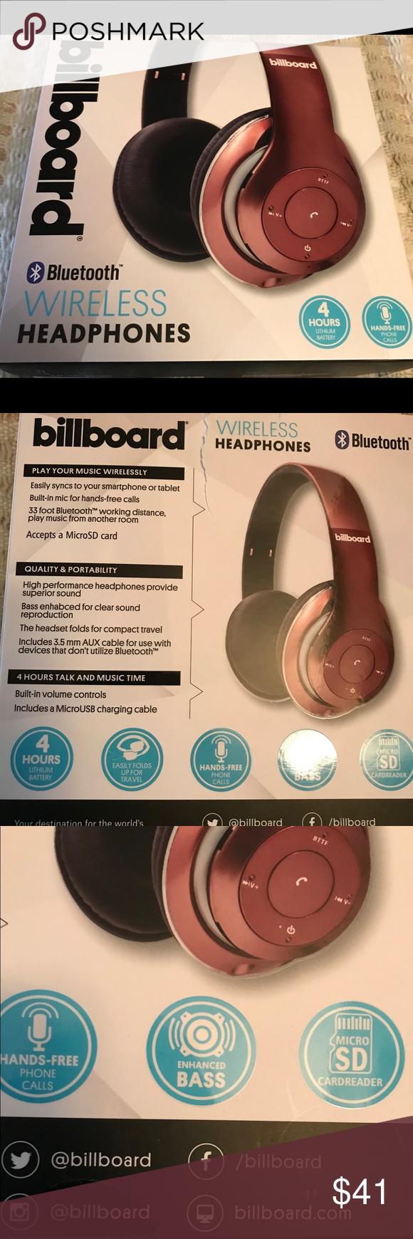 BRAND NEW Billboard bluetooth wireless headphones Rose gold
