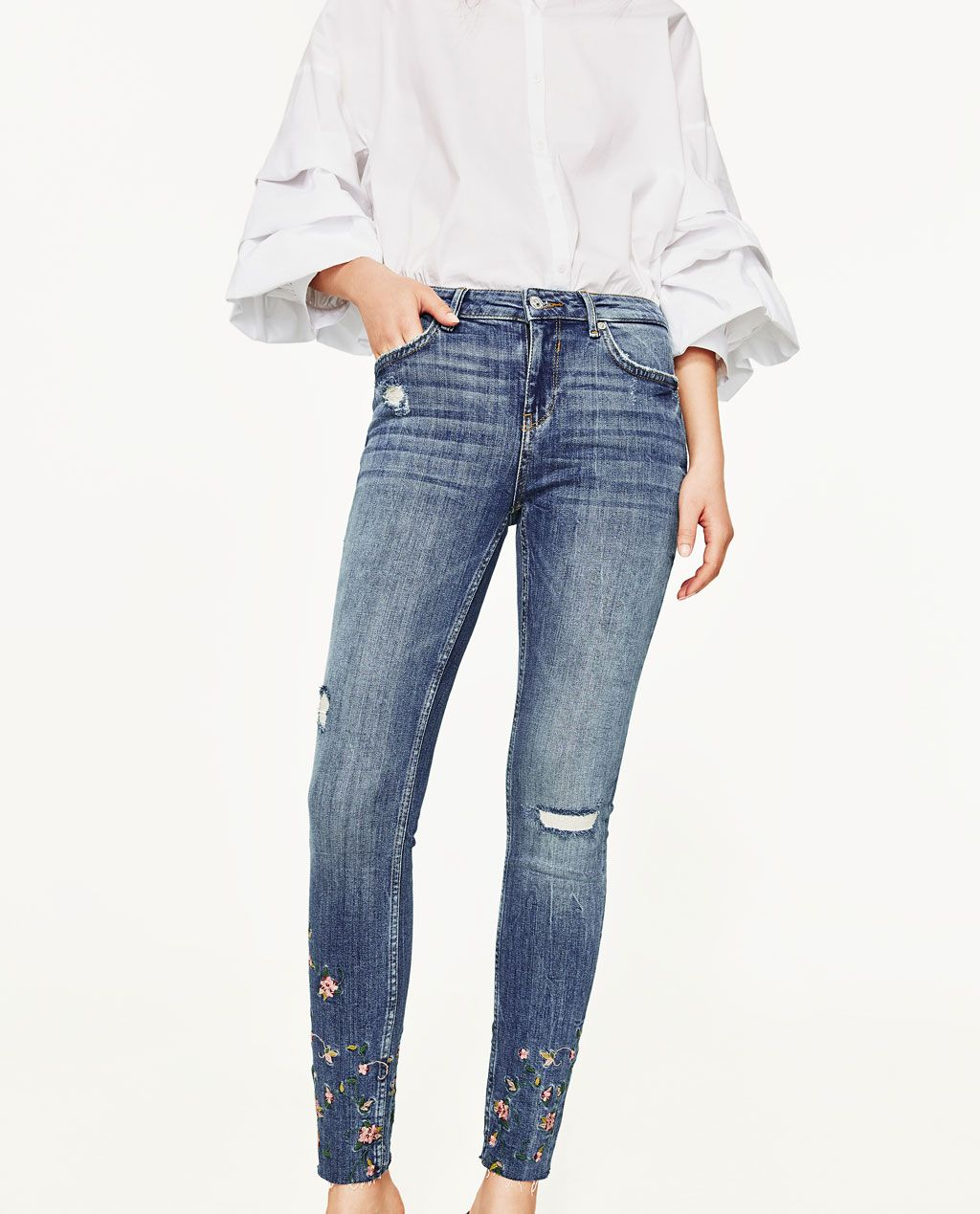 8608a8a7b24 MID-RISE JEANS WITH EMBROIDERED FLOWERS-Skinny-JEANS-WOMAN
