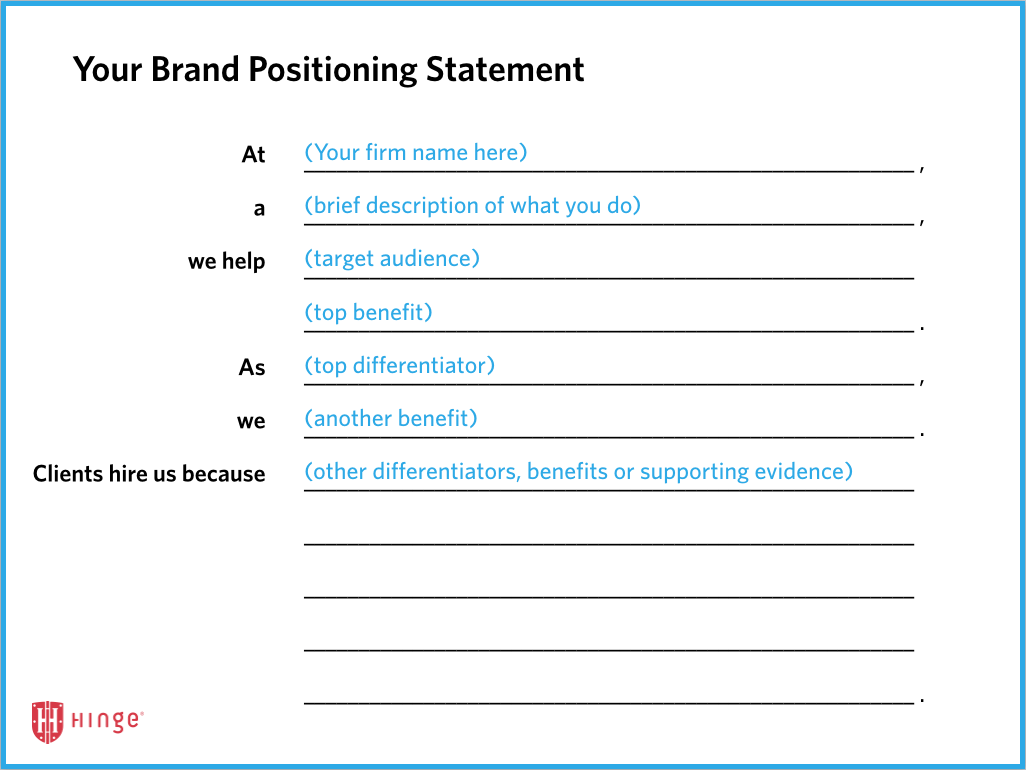 Brand Positioning Strategy For The Professional Services Personal Brand Statement Examples Personal Brand Statement Brand Positioning Strategy