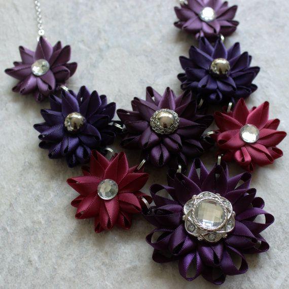 Purple Statement Necklace Maroon and Purple by PetalPerceptions
