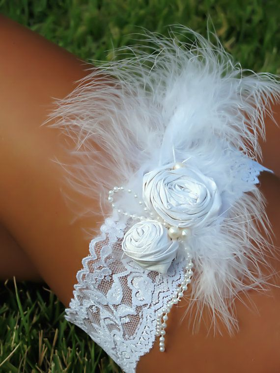 Marabou Feather Wedding Garter by Saint Townsend