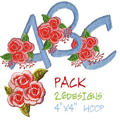 Download Amazing Embroidery Designs Red Roses font pack ...
