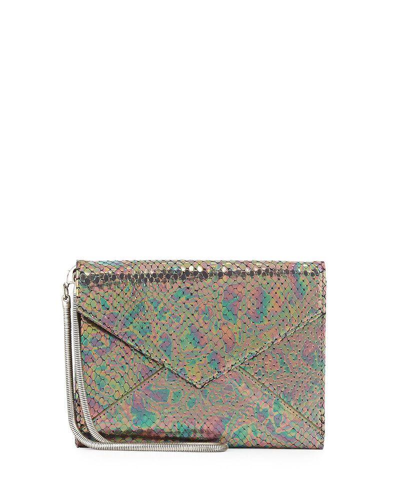 Romy Gold Python Embossed Metallic Leather Flap Top Wallet Ebay