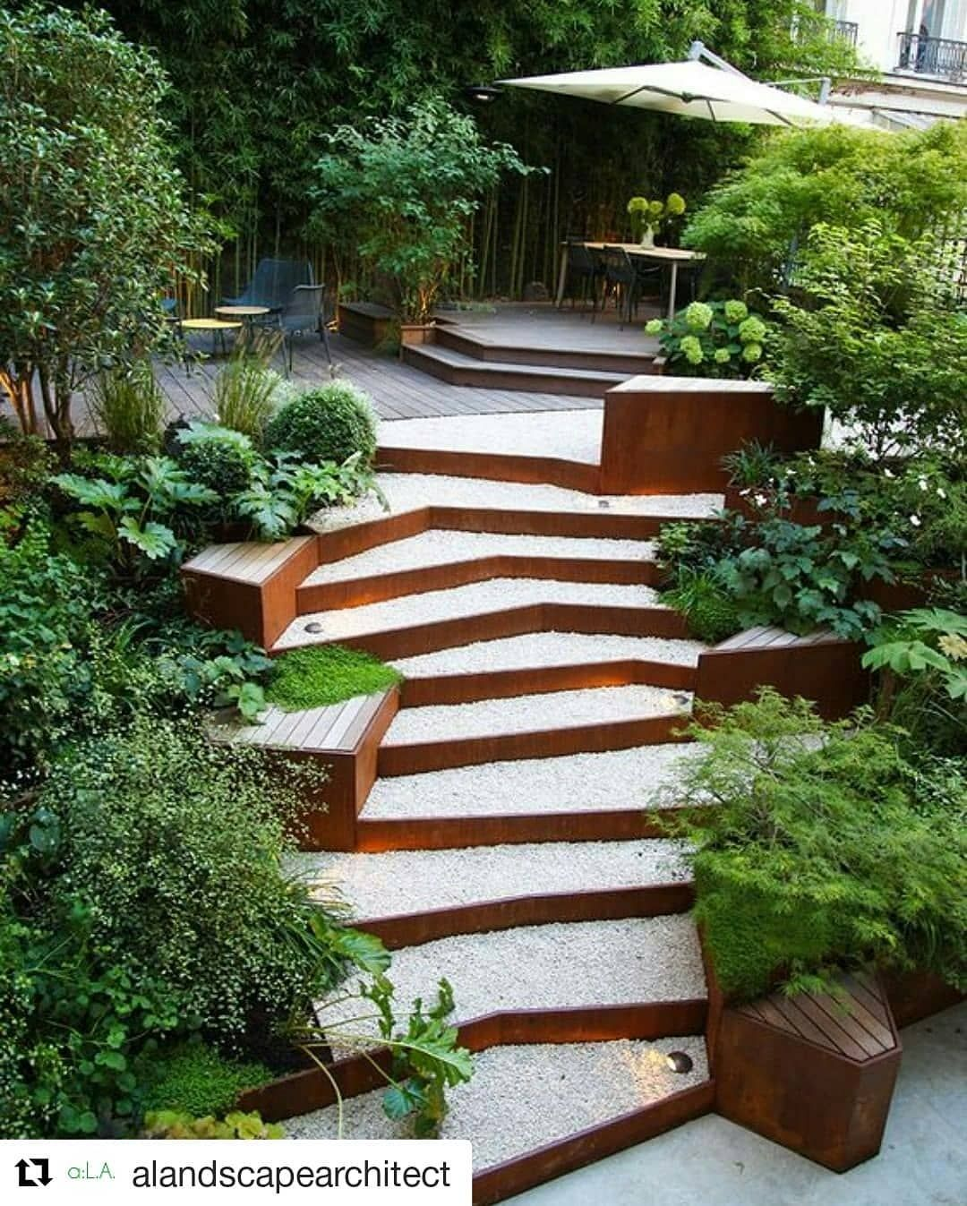 Fiona Environs On Instagram Adding Stairs To Your Design Can Be Tricky It Has To Be Aesthetic As W Backyard Hill Landscaping Landscape Steps Sloped Backyard