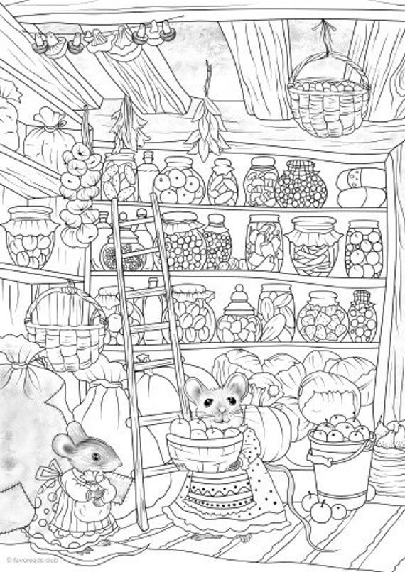 Thrifty Mice - Printable Adult Coloring Page from Favoreads Coloring book pages for adults and kids Coloring sheets Coloring designs