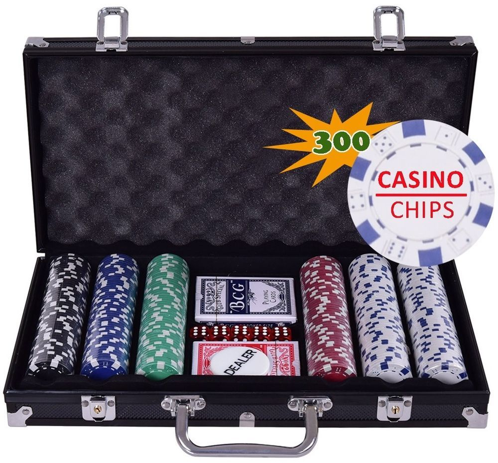 Professional Poker Set Cards Chips Dice Texas Holdem Play