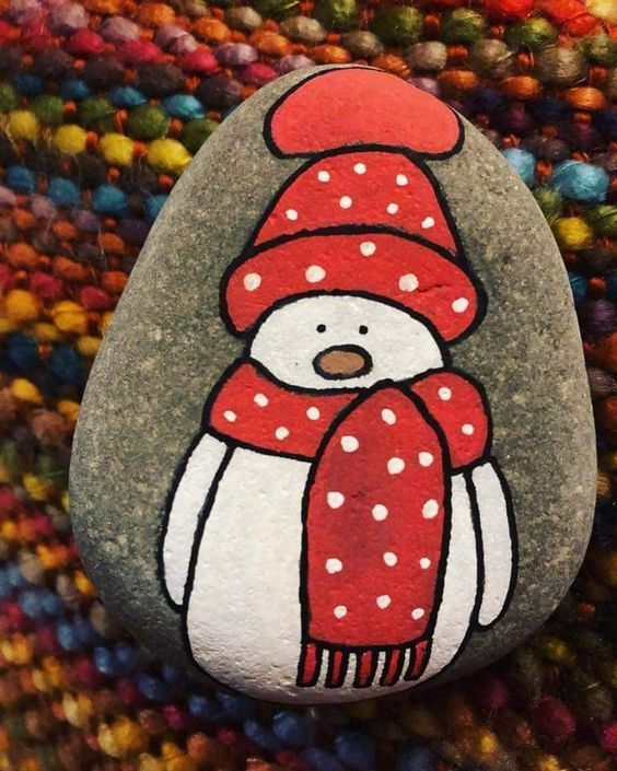 Easy Christmas Crafts for Gifts for Coworkers - Holiday Rock Painting Ideas #rockpainting Snowman painted rock #giftsforcoworkers