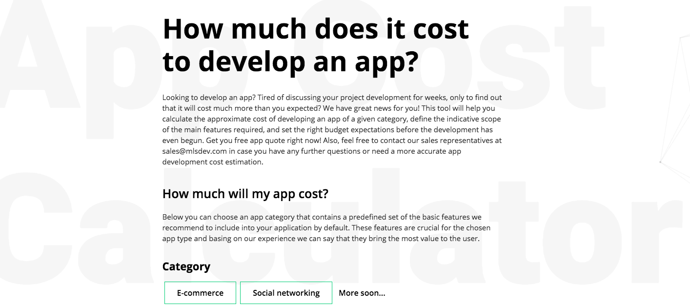We have released an app cost calculator on our website