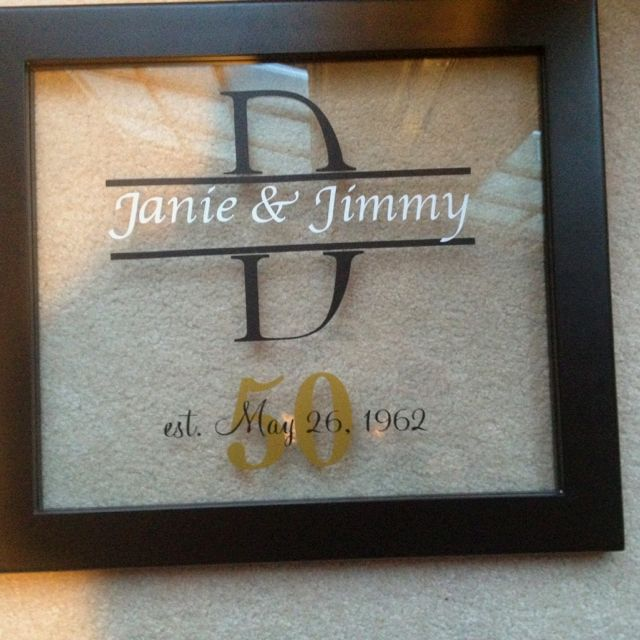 Wedding Gift For Aunt: Frame I Made With My Silhouette For My Aunt & Uncle's 50th