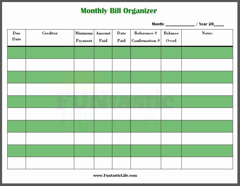 Bill Organizer Spreadsheet Fresh Free Printable Monthly Bill Organizer Funtastic Life Bill Organization Printables Bill Organization Organization Printables