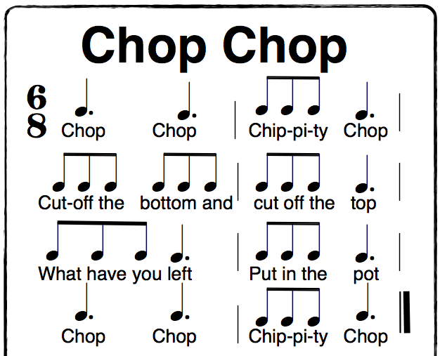 Chop Chop Chippity Chop a fun Orff activity in 6/8 time