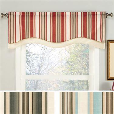 Maxton Striped Shaped Window Valance Valance Window Treatments