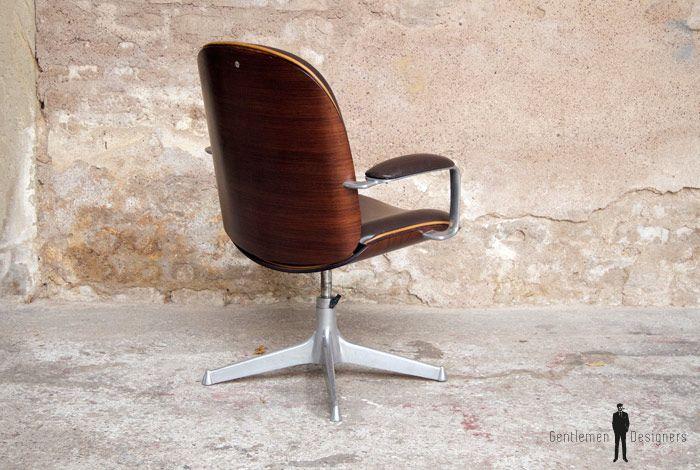 gentlemen designers fauteuil de bureau vintage ico parisi mim pivotant et accoudoir fauteuil bureau vintage parisi mim brocante brocantestyle broc
