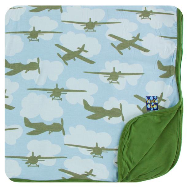 Toddler Blanket In Pond Airplanes Kickee Pants Spring 1